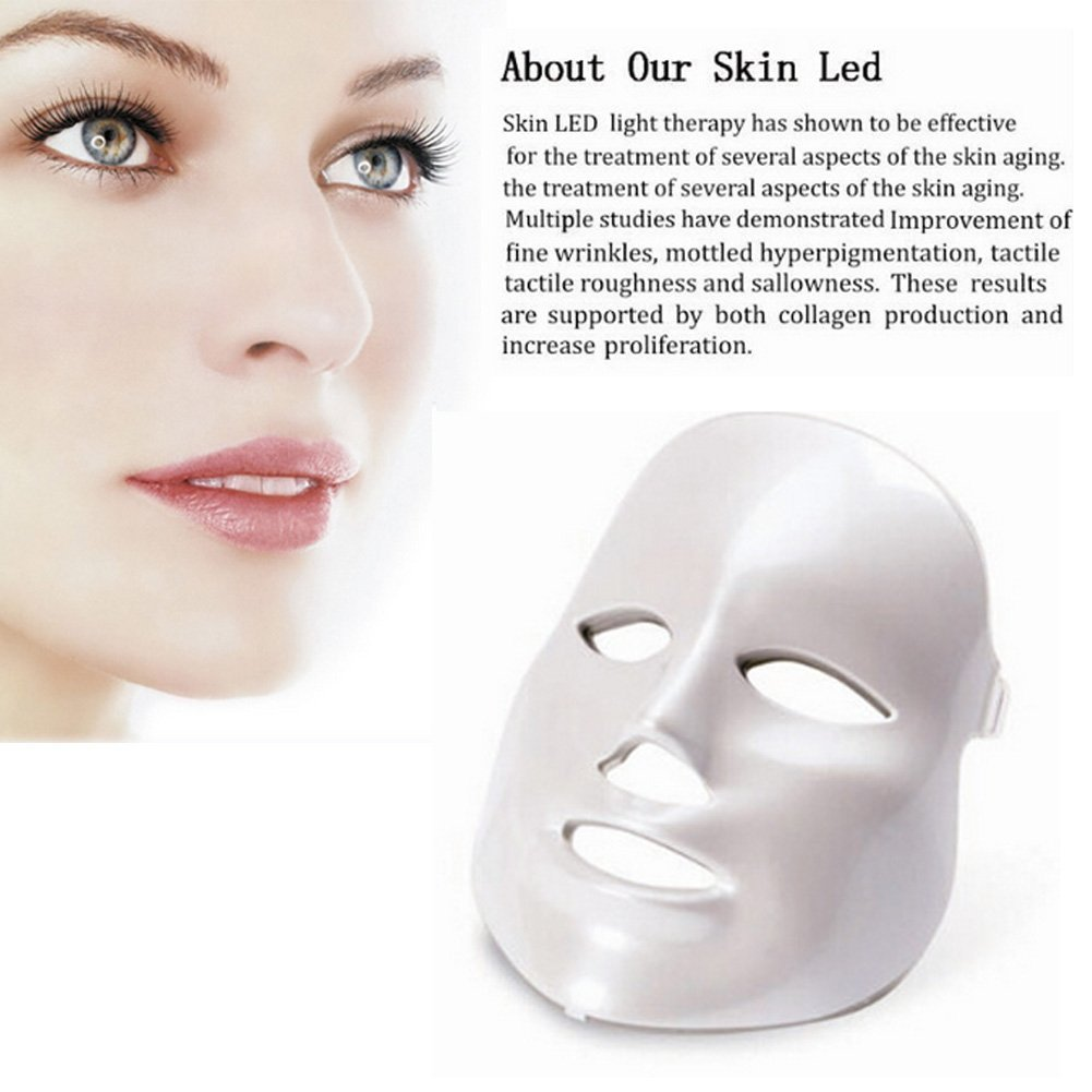 Carer 3 Color LED Mask Photon Light Skin Rejuvenation Therapy Facial ...