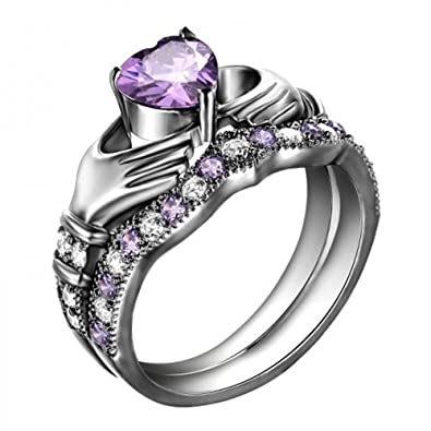 Claddagh Wedding Ring Set | Amazon Com Tvs Jewels Luxury Promise Anniversary Gift Claddagh
