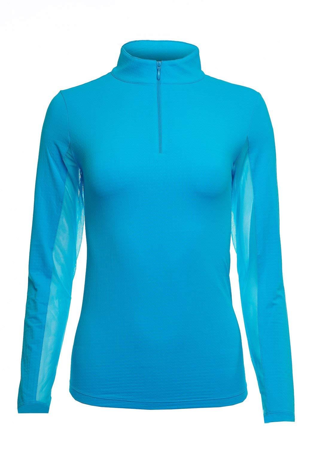IBKUL Long Sleeve Zip Mock Sun Shirt Womens (Turquoise, Medium) by IBKUL
