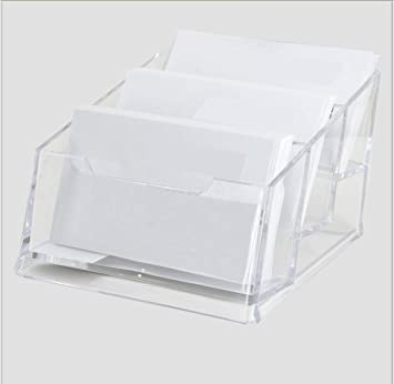 popowbe business card case holder 3 tier premium acrylic clear business card holder display plastic business - Plastic Business Card Holders