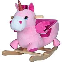Deuba Schaukeleinhorn | Schaukeltier Plüsch Schaukel Wippe Pferd Einhorn Kinder Baby Spielzeug | Sound-Geräusche | inkl. Sicherheitsgurt | Balancetraining | besonders weich