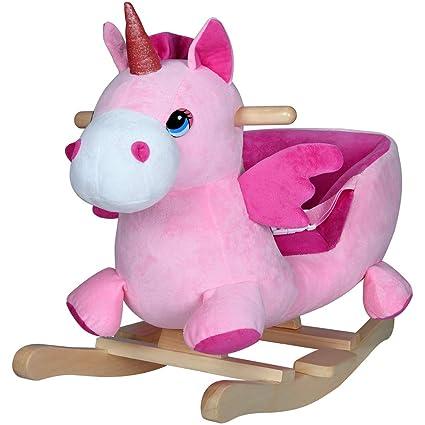 Schaukeltier Einhorn pink Schaukelpferd mit Sitz f/ür Kleinkinder