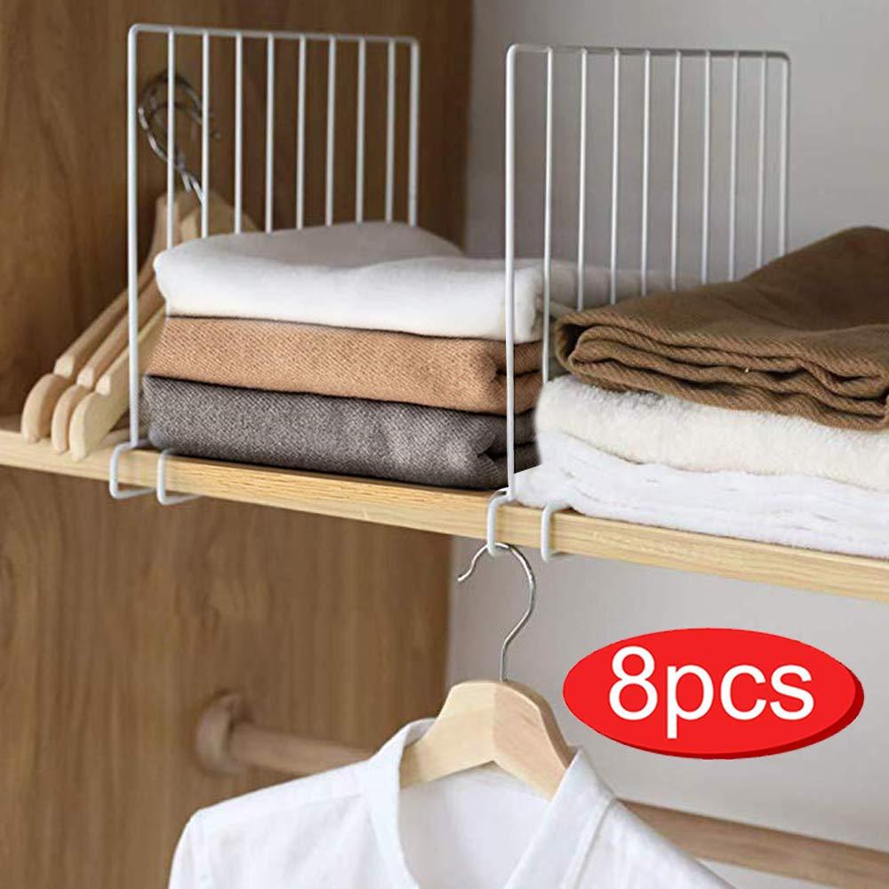Shelf Divider for Closet,Set of 8 Wood Shelf Organizer,Metal Wire Shelves Separator for Clothes,Shelf Dividers for Wooden Shelves,Wardrobe,Kitchen Cabinets,Bookshelf Storage and Organization by SSAWcasa