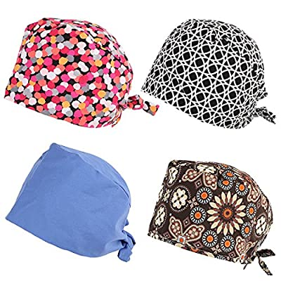 kilofly 4pc Adjustable Tie Back Surgical Scrub Cap Medical Doctor Bouffant Hats