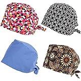 kilofly 4pc Women Men Adjustable Scrub Cap Sweatband Bouffant Hats Value Set