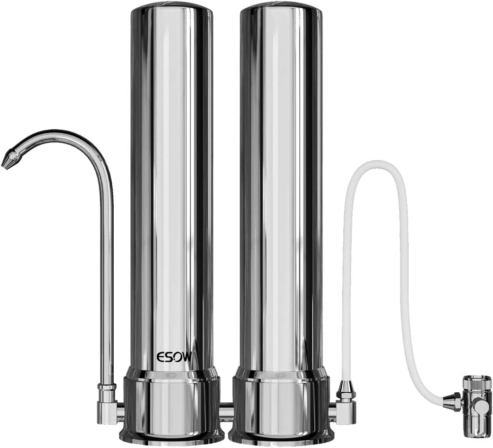 ESOW Countertop Water Filter with Carbon Block and Ceramic Cartridge, 304 Food-Grade Stainless Steel, High Water Flow Filtration System, Filtered Water Dispenser for Home, Kitchen Tap & Bathroom Sink