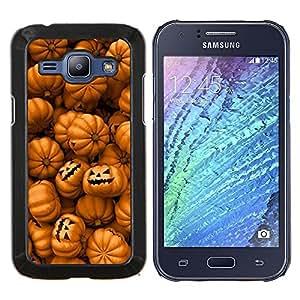 Stuss Case / Funda Carcasa protectora - Naranja calabaza Evil vacaciones - Samsung Galaxy J1 J100