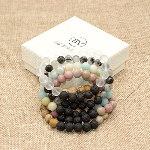 Bivei Lava Rock Stone Essential Oil Diffuser Bracelet - Natural Semi Precious Gemstone Beads Healing Crystal Bracelet(Set of 5) by Bivei (Image #5)