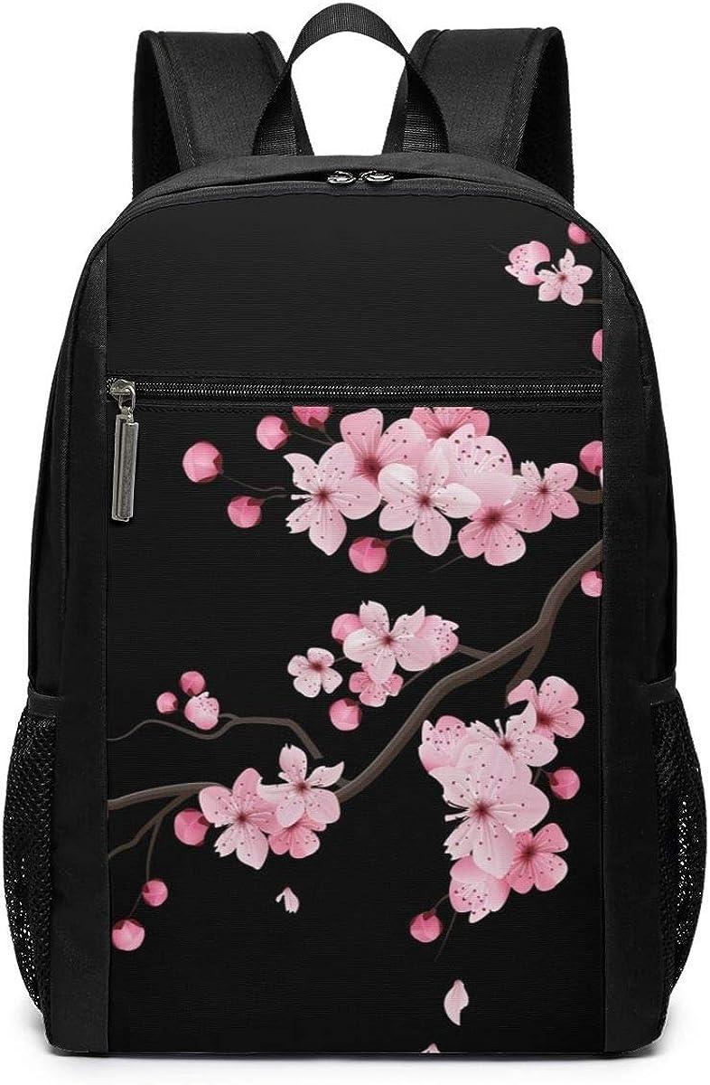 Travel Backpacks Japanese Cherry Blossoms Black School Shoulder Laptop Daypack Bags 17 Inch For Girls Boys Men Womens, Black