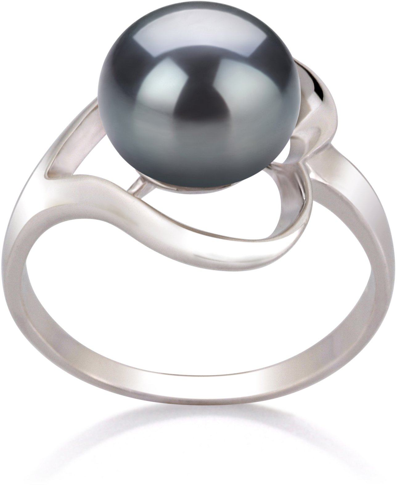 Sadie Black 9-10mm AA Quality Freshwater 925 Sterling Silver Cultured Pearl Ring - Size-6