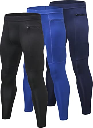 Men/'s Compression Pants Baselayer Cool Dry Sports Leggings Running with Pocket
