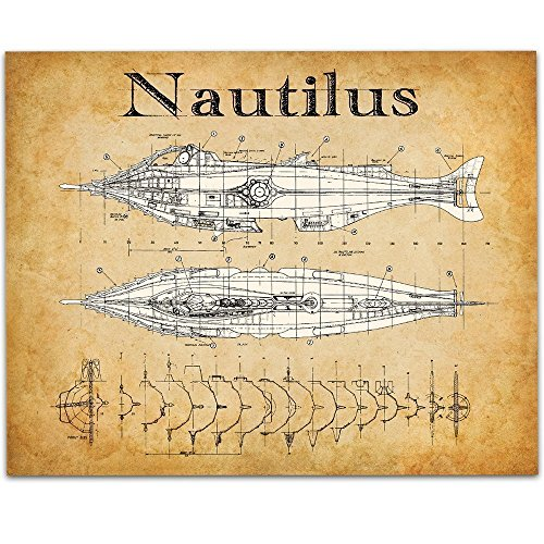 Disney's 20,000 Leagues Under The Sea Nautilus Art Print - 11x14 Unframed Patent Print - Great Room Decor or Gift for Disney Fans