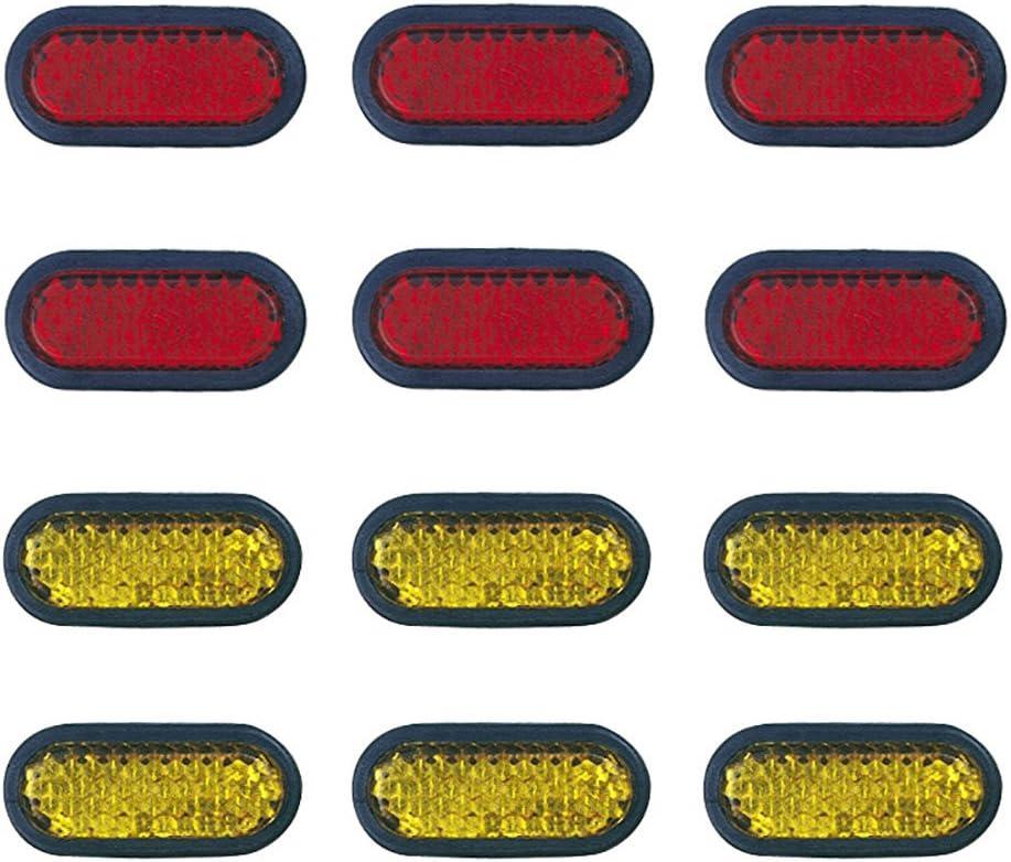 Custom Accessories 43336 6 Adhesive Reflectors Amber//Red