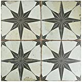 SomerTile FPESTRN Reyes Astre Ceramic Floor and Wall Tile, 17.625'' x 17.625'', Cream/Beige/Black