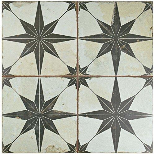 SomerTile FPESTRN Reyes Astre Ceramic Floor and Wall Tile, 17.625'' x 17.625'', Cream/Beige/Black by SOMERTILE