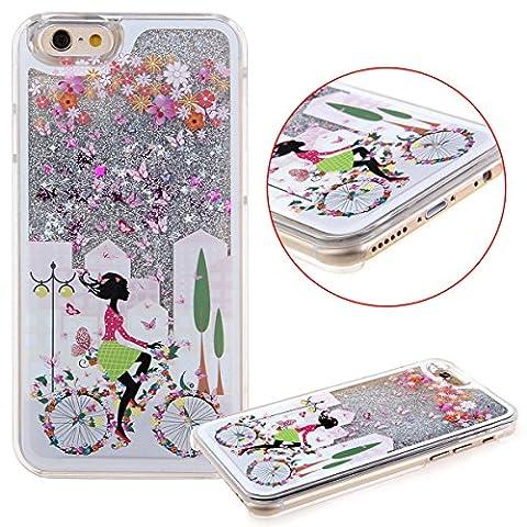 iPhone 5C Case,iPhone 5C Liquid Case,UZZO 3D Creative Flower Fairy Faery Angel Girl Print Flowing Liquid Floating Bling Glitter Sparkle Stars Hard Case for iPhone (3d Bling Cases For Iphone 5c)