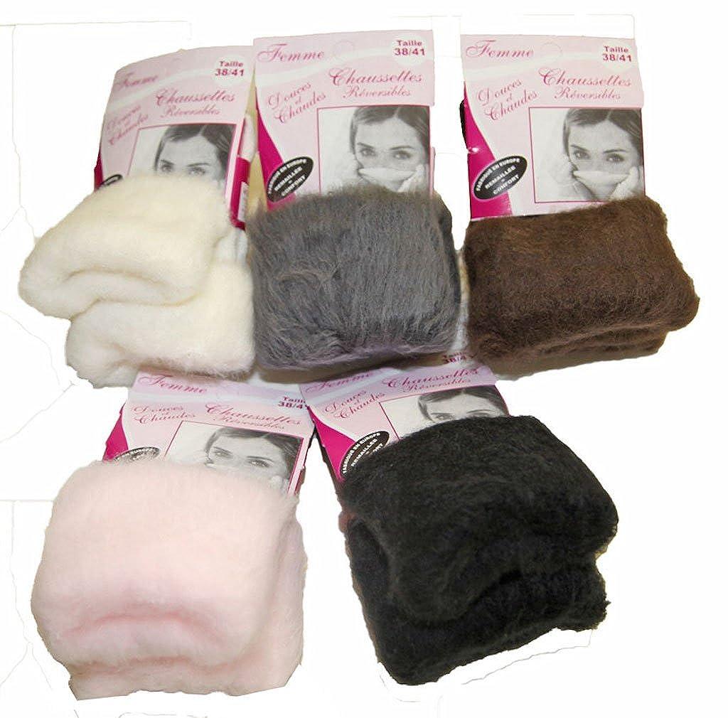 e6f2ff18c31 Pierre-cedric Chaussette femme polaire réversibles douces et chaudes  remaillée Confort !  Amazon.fr  Vêtements et accessoires