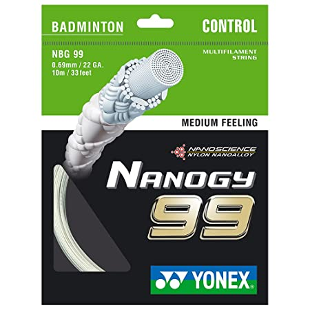 Yonex Badminton String Nanogy99, Medium Feeling, White Racquet Strings