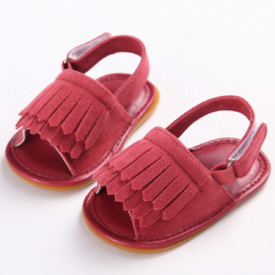 Infant Sandals FAPIZI Toddler Girl Crib Shoes Newborn Tassel Soft Sole Anti-Slip Baby Frosted Sneakers