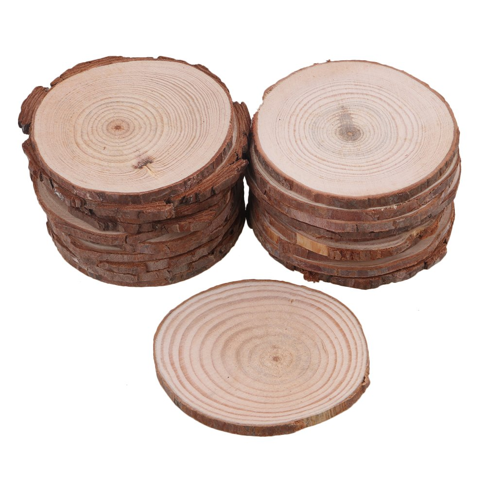 RDEXP 7cm-8cm Dia Natural Pine Wood Unfinished Round Discs Tree Bark Wooden Circles for DIY Crafts Set of 20 RDEXPAM