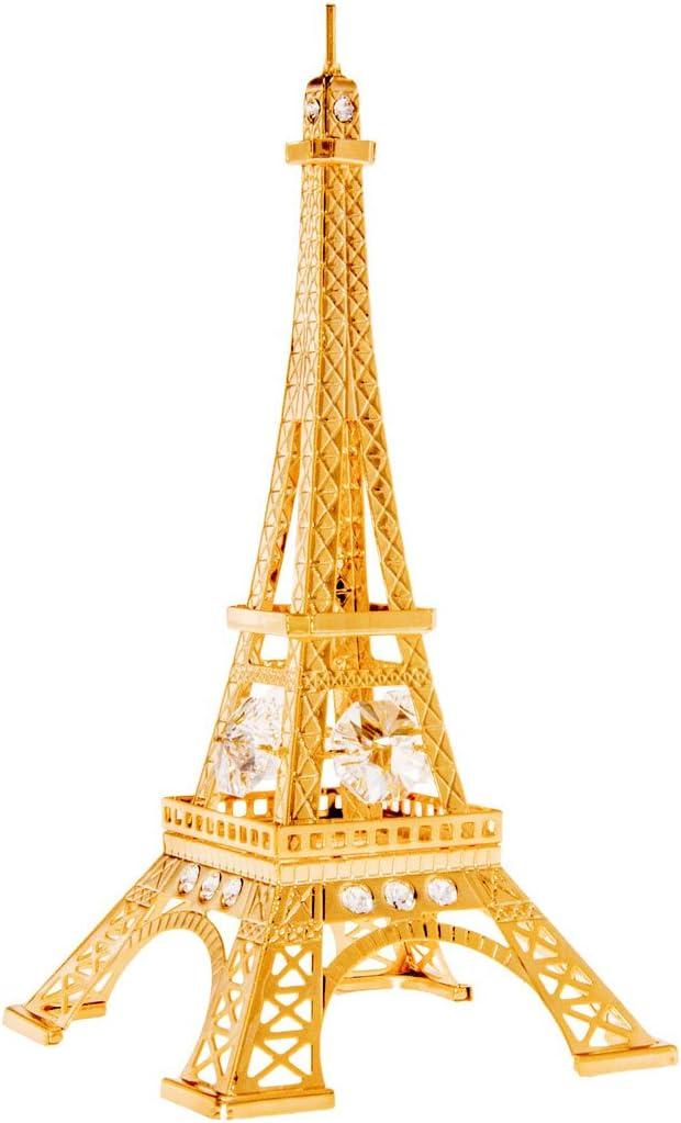 Eiffel Tower 24k Gold Plated Figurine with Swarovski Crystals