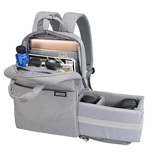 CADeN Camera Bag Backpack DSLR Case for Women Men Waterproof Anti Theft Photography & Casual Travel Bag phtography rucksack for SLR Canon Nikon Sony (Light Grey)