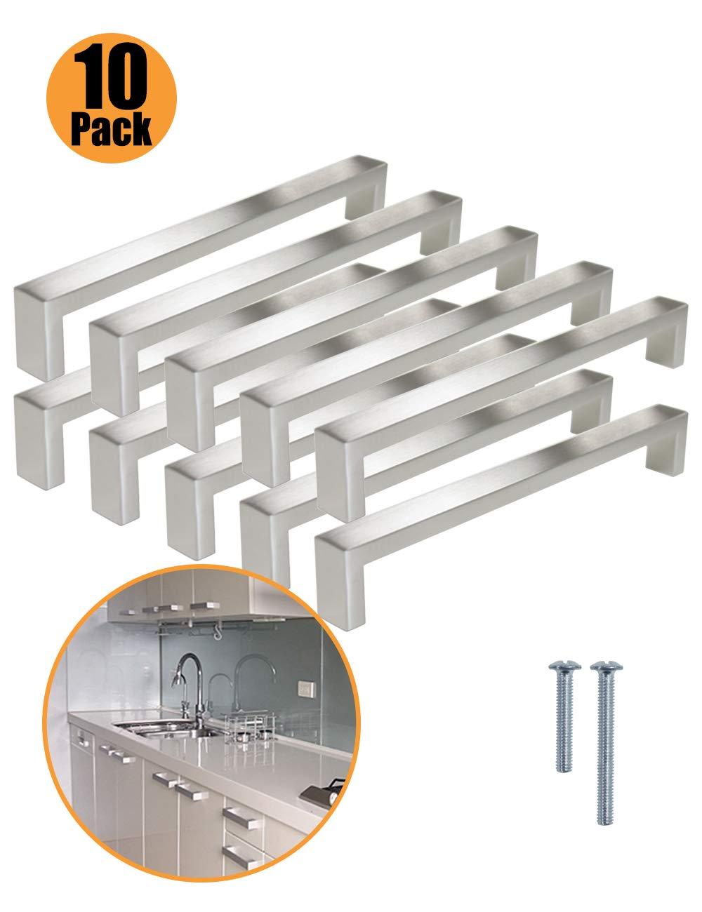 tiradores de armario acero inoxidable cepillado tornillos incluidos plateado PinLin PIC Pack manijas para puerta de cocina
