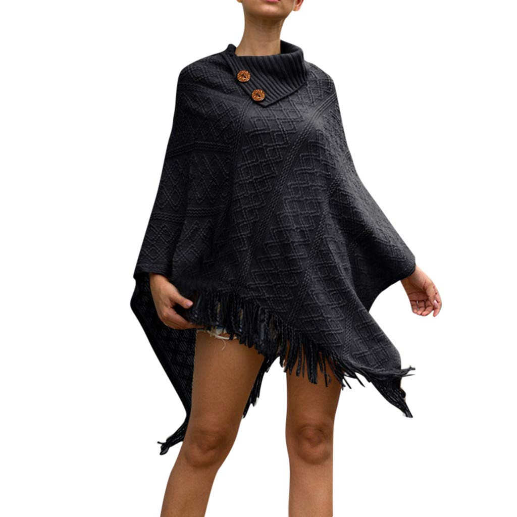 Fshinging Women Autumn Winter Knitted Capes Cashmere Poncho Shawl Cardigans Sweater Tassel Pullover Tops Coat{Black,} by Fshinging