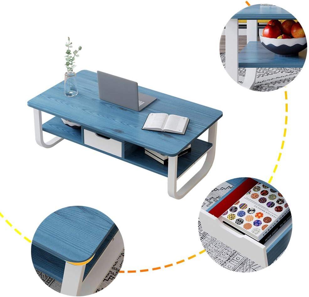Veilig Betalen ZRRtables Moderne salontafel voor de woonkamer, set van 2 creatieve tafels met lade, kleine vierkante bijzettafel van dik MDF afgerond design bank bijzettafel Blauw cYmizEP