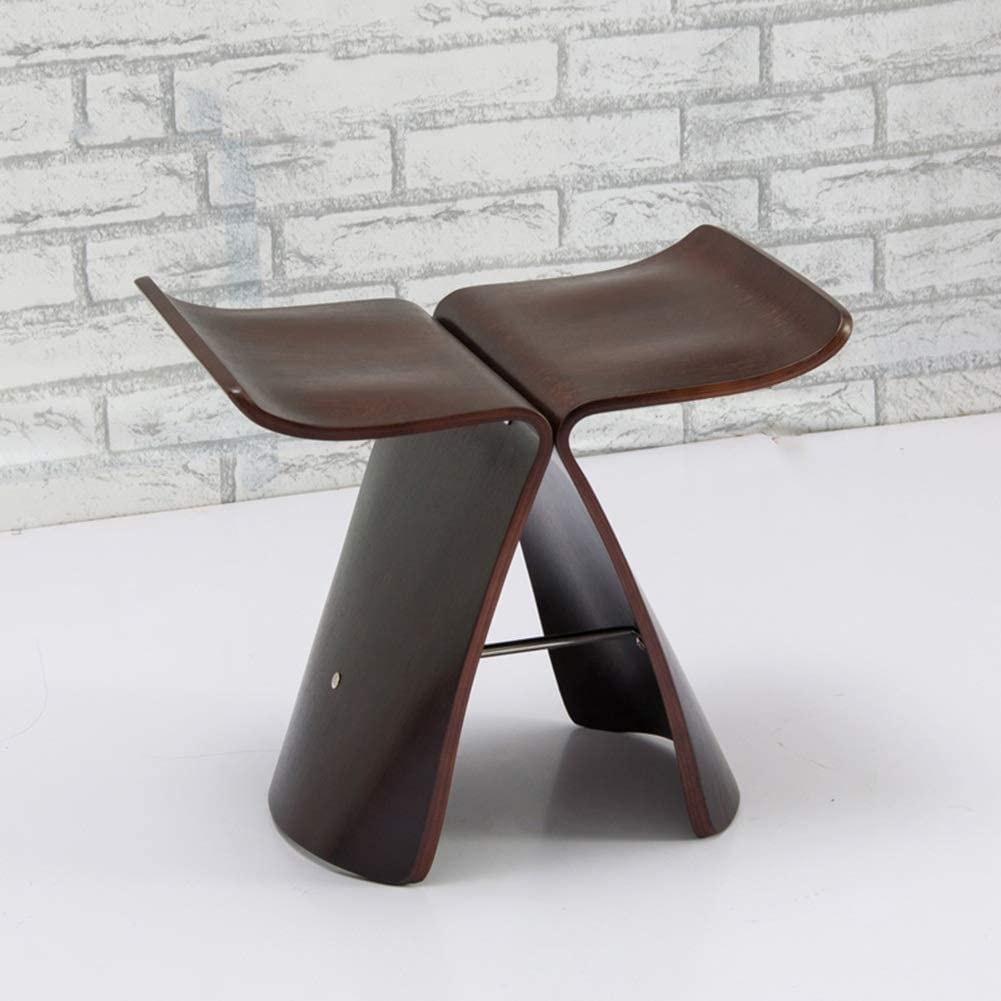 Color : Black Wood Color, Size : 443140cm Yzdz Creative Fashion Butterfly Stool Change Shoes Stool Stool Wood Small Bench Chair Living Room 44 31 40cm