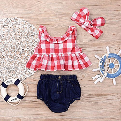 Toddler Baby Girl Outfit,Crytech Plaid Ruffle Sleeveless Bowknot Tank Top Denim Short Pants with Bow Headband for Newborn Infant Kids Photoshoot Beach Summer Clothes (Size:12M, Red)