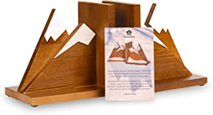 SEVEN'S Home Mountain Bookends. Adventure Themed Nursery Decor, Decorative Book Holders for Home Office, Kid's Room Heavy Duty bookends, Rustic Desk or Shelf Accessories, Set of 2