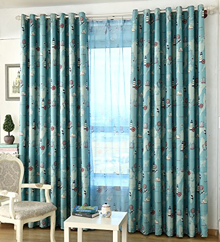 AliFish 1 Panel Nautical Curtains and Drapes Grommet Vessel Rudder Panel Kids Room Window Drapes Blackout Room Darkening Thermal Insulated for Boys Girls Berdoom for Living Room W39 x L84 -