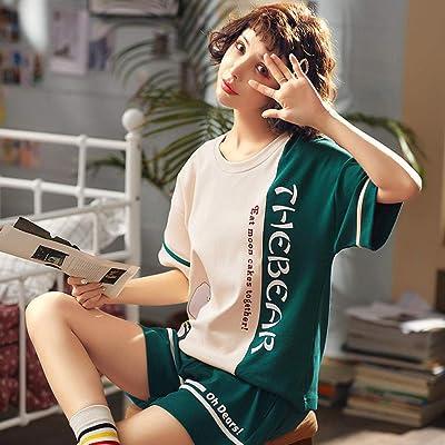 2019 Pijamas de Verano de algodón de Manga Corta, versión Coreana de Dos Piezas del Traje Delgado de Servicio a Domicilio: Ropa y accesorios