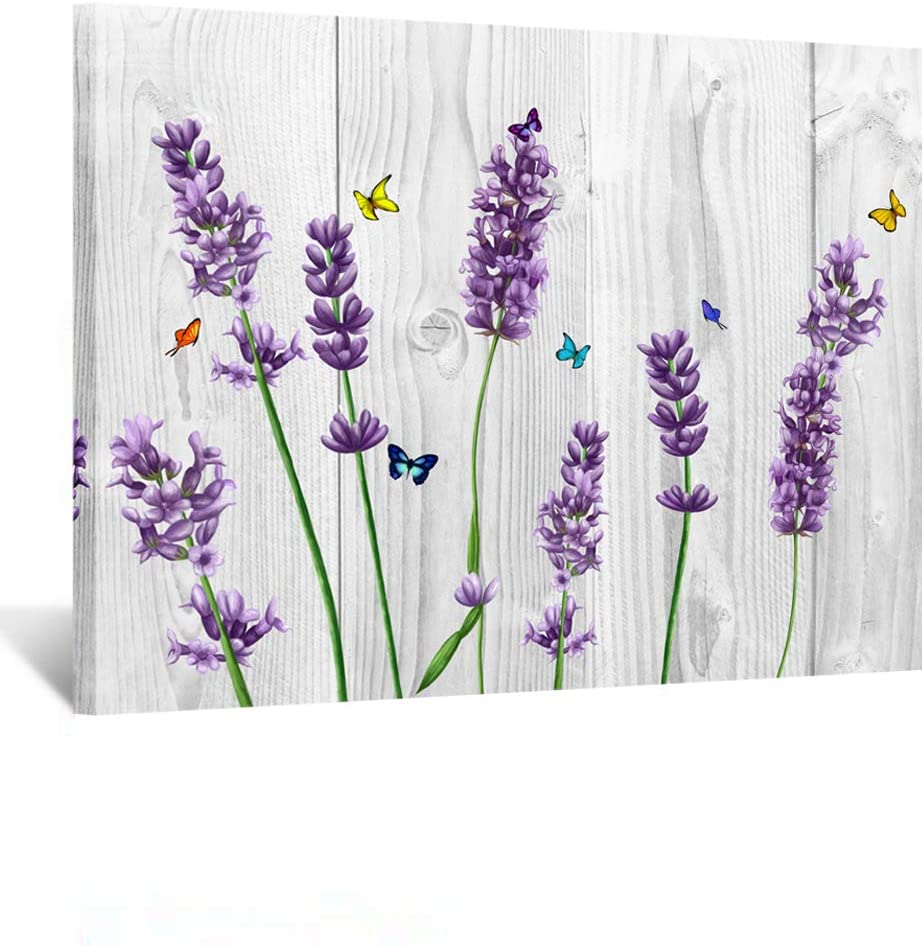 Kreative Arts Rustic Home Art Canvas Wall Art Lavender Pictures Wall Decor Retro Style Flowers on Vintage Wood Background Modern Bedroom Decoration Stretched and Ready to Hang 16x24inch