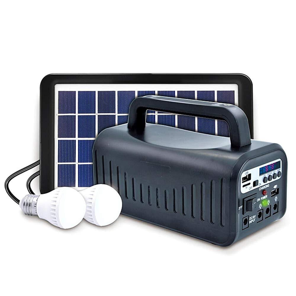 ソーラーパネル照明キット - ソーラー屋外/家庭用多機能ソーラーライト、2つのLED電球、USB充電ポート、ワイヤレスラジオ、電動モバイル電源付き B07S2RS4M7