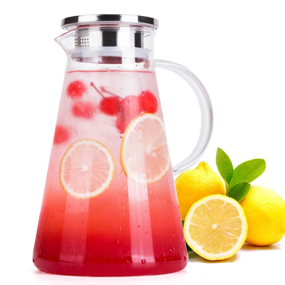 FZCRRDU KOCCAE 66 Ounces Clear Glass Pitcher with Stainless Steel Lid,Beverage Pitcher for Homemade Juice and Iced Tea,Water Carafe,Water Carafe for Hot/Cold Water