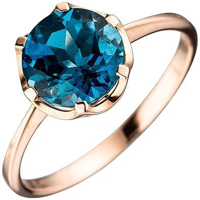 f66dcfa55d8f Jobo anillo Ladies 585 oro rosa 1 topacio Azul Londres Blue Gold Ring anillo  de oro rosa azul  Amazon.es  Joyería
