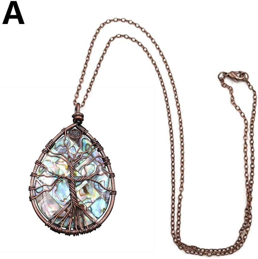 Árbol de la vida Colgante de alambre envuelto concha de abulón Collar de piedras preciosas Piedra curativa con cadena para mujeres