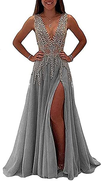 LeoGirl Womens Illusion Long Prom Dress With Slit Fancy
