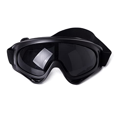 159390c4a4e HDE Outdoor Winter Sports Snowmobile Ski Goggles Snowboarding Protective  Eyewear with Scratch Resistant Lens (Black)  Amazon.ca  Clothing    Accessories