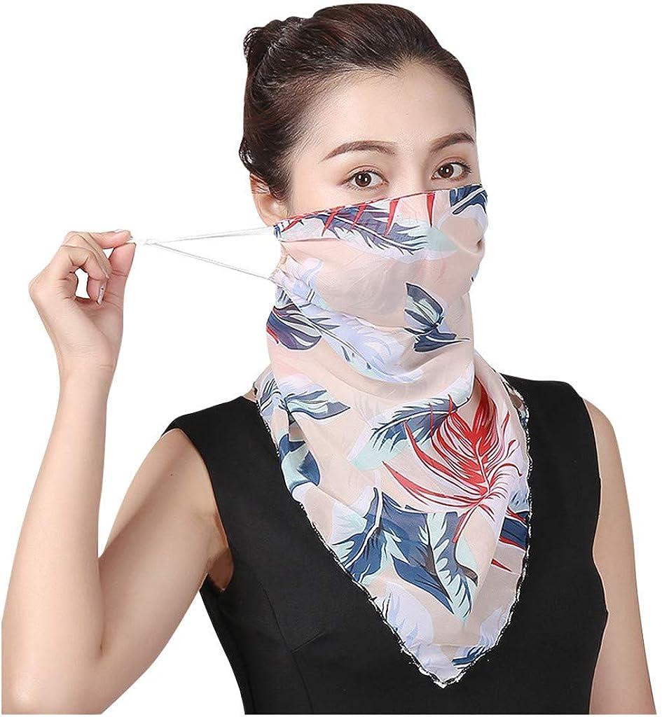 Seamless Bandana Headband,Women Sun face Cover Chiffon Neck Gaiter Sun Proof Face Scarf Face Cover Outdoors