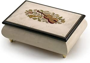 Incredible Ivory Italian Music Box with Violin and Floral Inlay - Many Songs to Choose - My Old Kentucky Home
