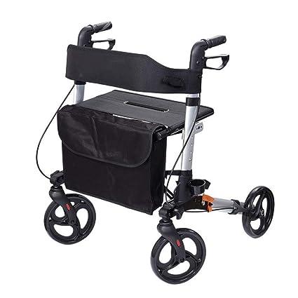 WLIXZ Andador con Ruedas Plegable, Silla de Transporte de Aluminio de 4 Ruedas, Ayuda