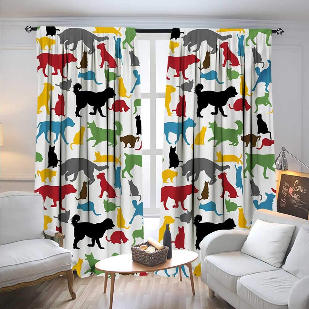 color10 W72\ color10 W72\ BlountDecor KidsBlackout Drapescolorful Cats and Dogs Animal Silhouettes Domestic Pets Cartoon Canine CharactersCover The Sun W72 x L96 Multicolor