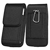 ykooe Rugged Nylon for iPhone 11 8 7 6 6s Holster Black Carrying Cell Phone Holster Belt Clip Case Pouch for (4.5 to 6.5 inch) iPhone 11 8 7 6 6S Plus iPhone X Xs Xr Moto G7, UMIDIGI