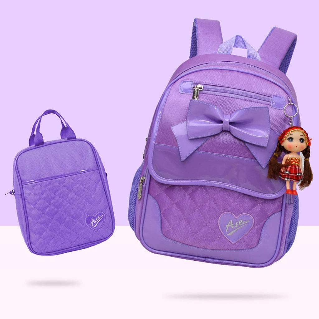 Minmin11 Girls Trolley Backpack with Removable Wheeled Trolley Hand School Bag Kids Bookbag Set Color : Purple