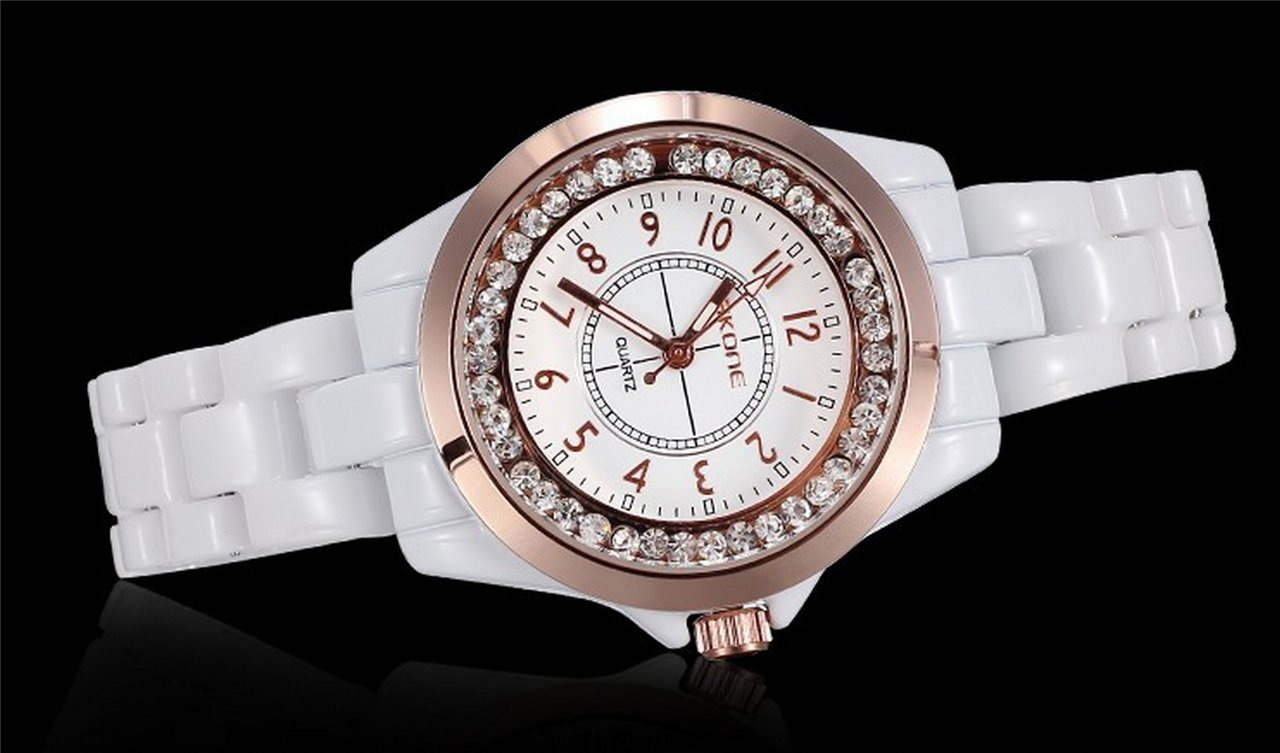 WUTONYU(TM) Women's White Ceramic Band Wrist Watch Luminous Rhinestones Quartz Watches(Silver) by WUTONYU (Image #3)