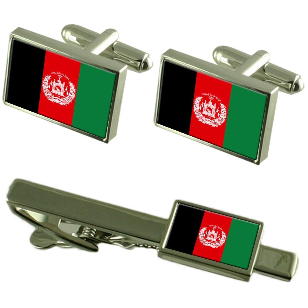 アフガニスタンの国旗カフスボタンタイクリップマッチングボックスギフトセット   B01NA6GT9L