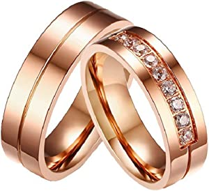 Win A Free GINBL 6MM Rose Gold Plated Engagement Ring Women Men Stainless...
